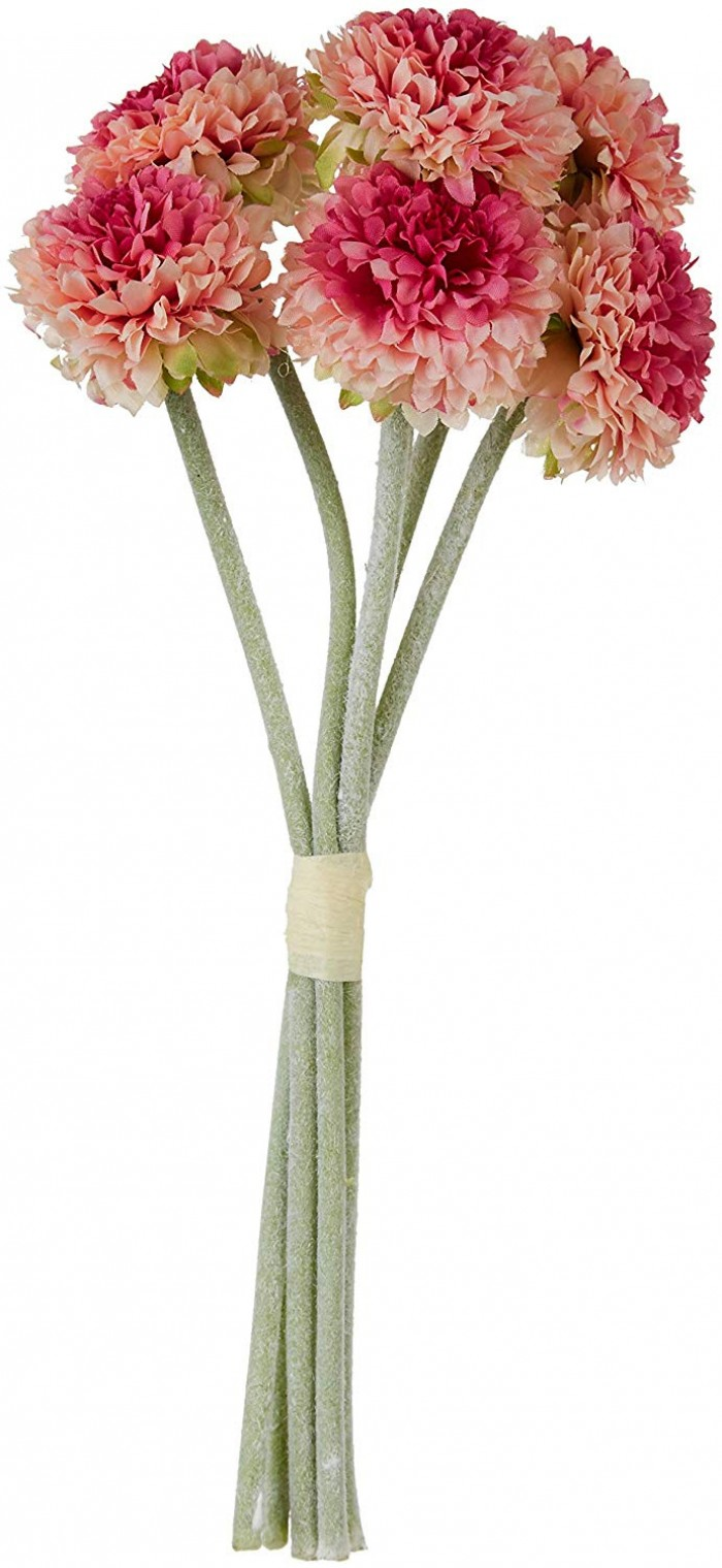Buy Artificial Synthetic Chrysanthemum Flower Bunch (6 Flowers, 30 Cm Tall, Peach) Online