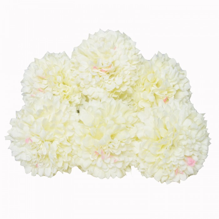 Buy Artificial Synthetic Chrysanthemum Flower Bunch (6 Flowers, 30 Cm Tall, White) Online