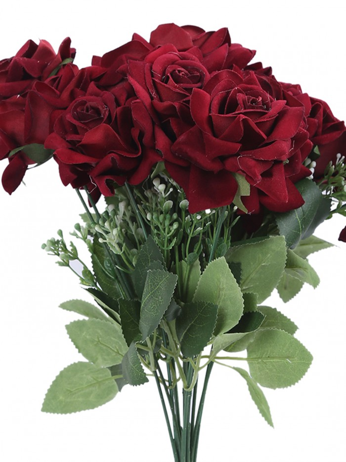 Buy Large Blooming Artificial Velvet Rose Bouquet (45 Cm, Maroon, 7 Branches, Set Of 2) Online