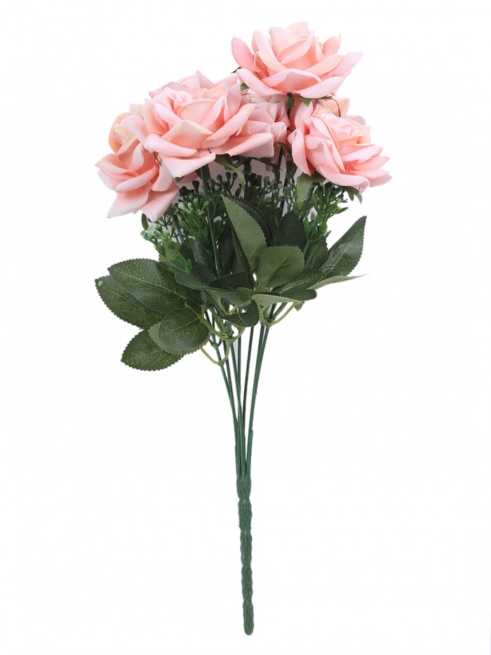 Buy Large Blooming Artificial Velvet Rose Bouquet (45 Cm, Peach, 7 Branches, Set Of 2) Online