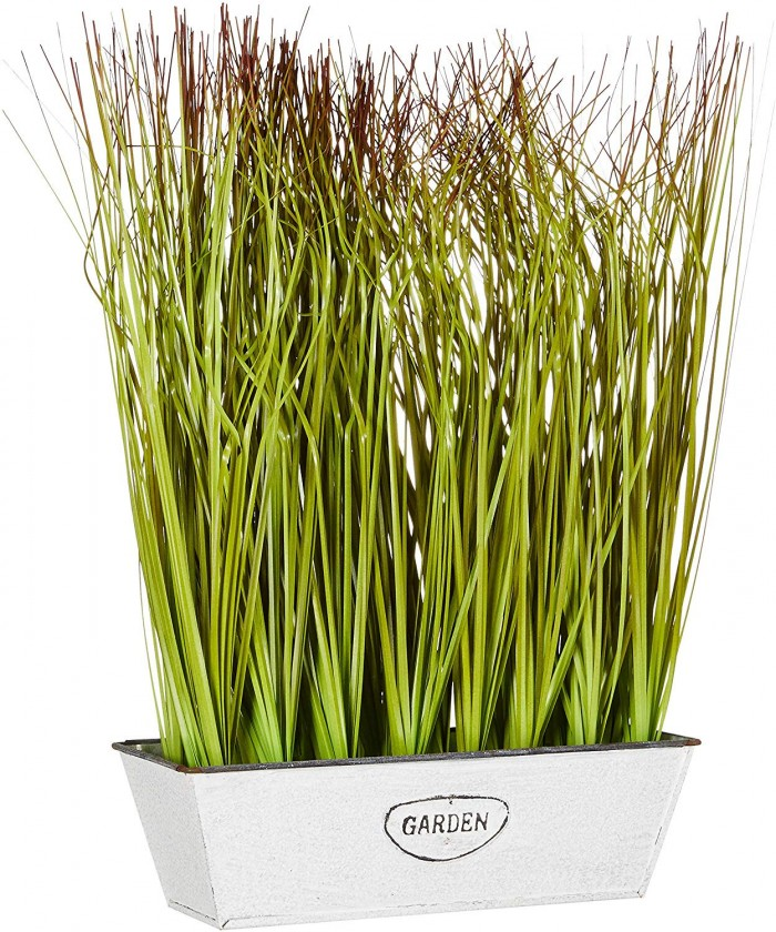 Buy Artificial Onion Grass Plant In A Rectangular Pot For Home And Office D�cor (36 Cm, Dark Green
