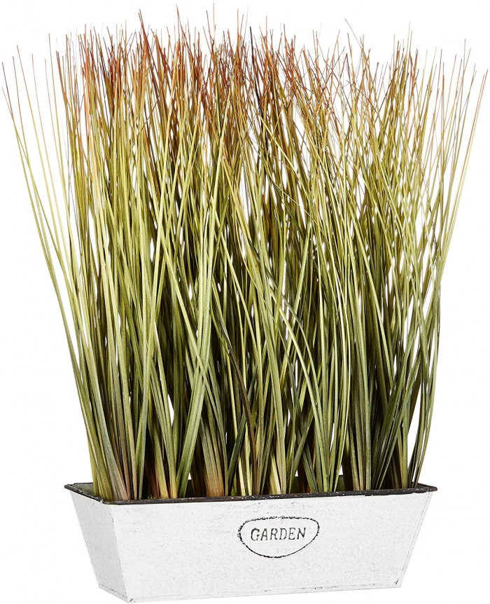 Buy Artificial Onion Grass Plant In A Rectangular Pot For Home And Office D�cor (36 Cm, Light Gree