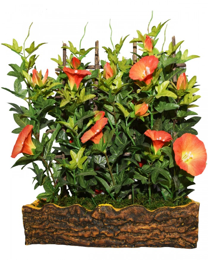 Buy Fourwalls Artificial Morning Glory Plant In A Light Weighted PU Pot (27 Cm, Orange) Online