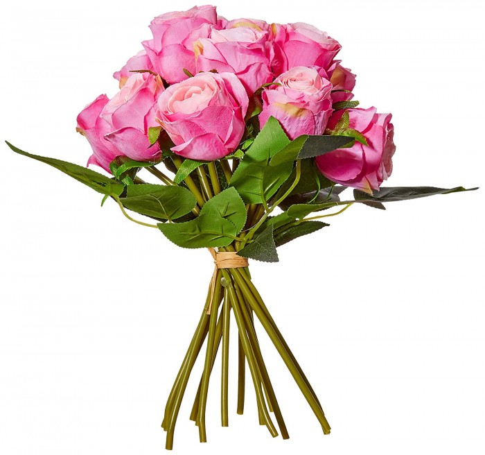 Buy Decoration Artificial Rose Flower Bunches (26 Cm Tall, 15 Heads Flowers, Light/Pink) Online