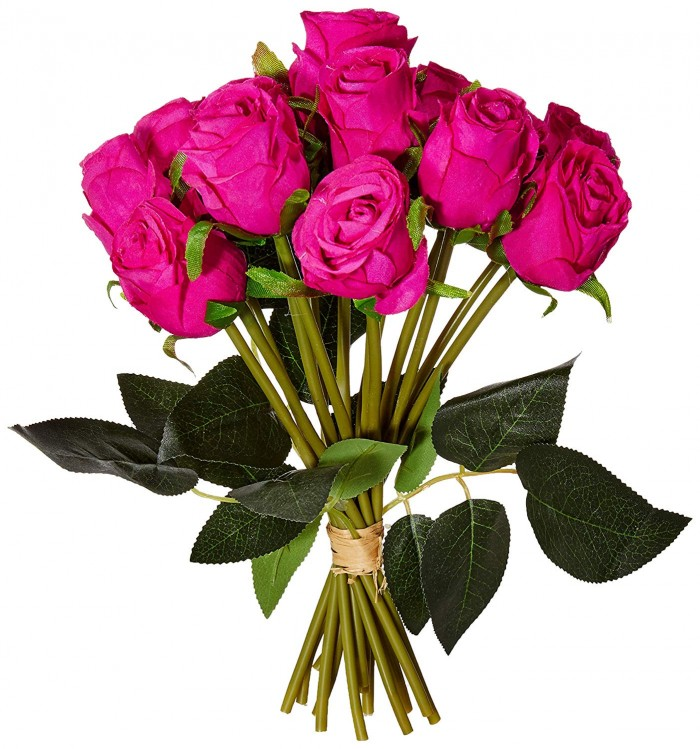 Buy Decoration Artificial Rose Flower Bunches (26 Cm Tall, 15 Heads Flowers, Dark/Pink) Online