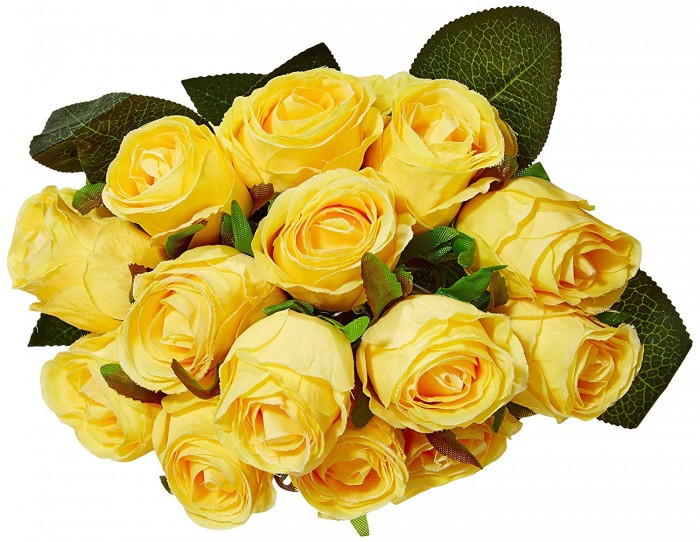 Buy Decoration Artificial Rose Flower Bunches (26 Cm Tall, 15 Heads Flowers, Yellow) Online