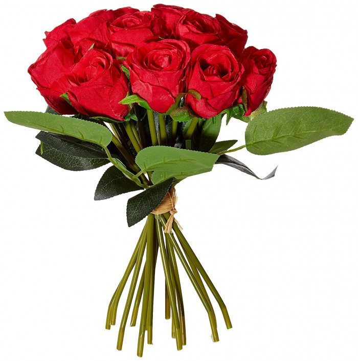 Buy Decoration Artificial Rose Flower Bunches (26 Cm Tall, 15 Heads Flowers, Red) Online