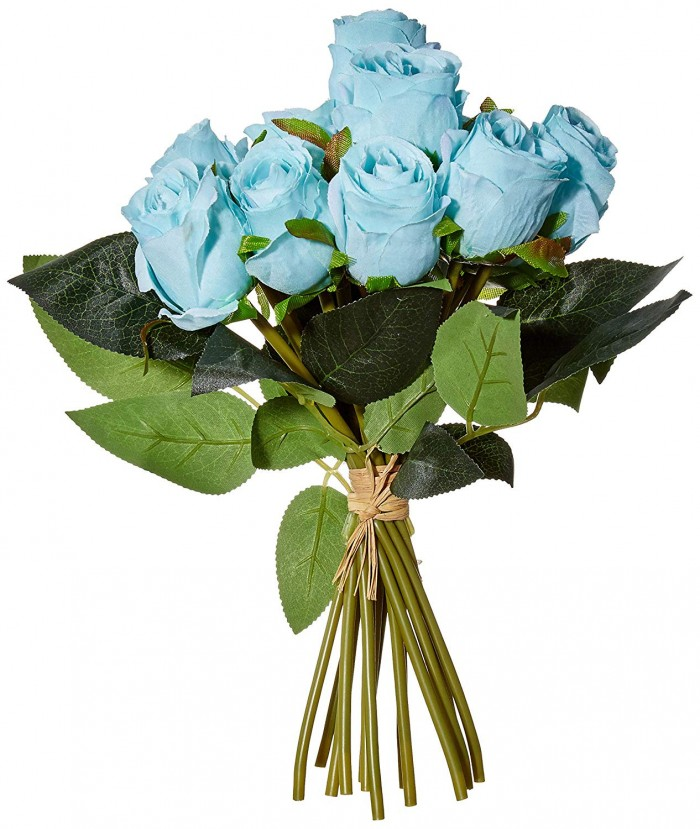 Buy Decoration Artificial Rose Flower Bunches (26 Cm Tall, 15 Heads Flowers, Blue) Online
