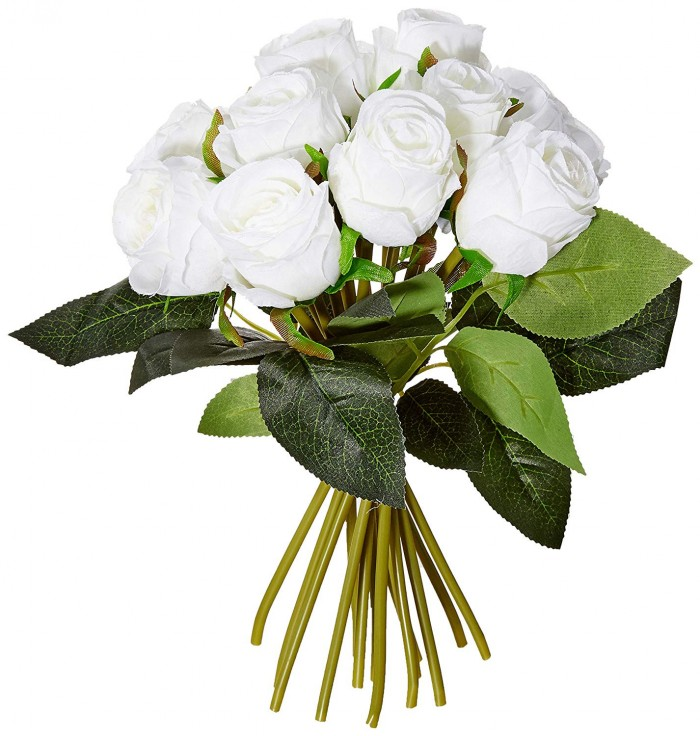 Buy Decoration Artificial Rose Flower Bunches (26 Cm Tall, 15 Heads Flowers, White) Online
