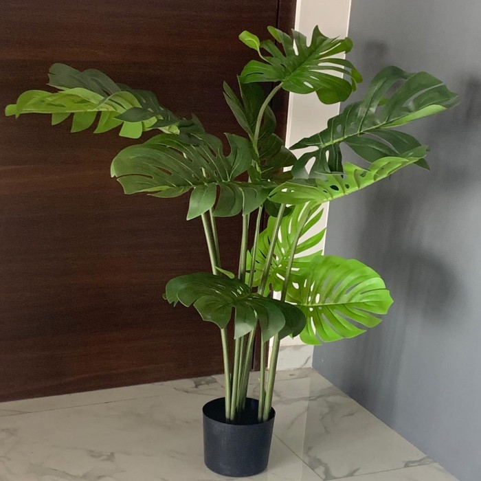 Buy Artificial Monstera Plant With Pot And Belly Basket (4 Feet, Real Touch) Online