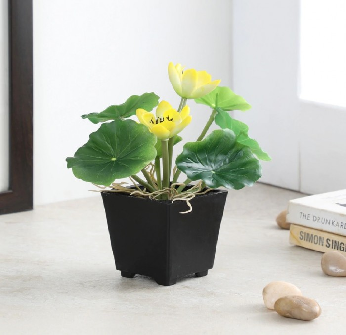 Buy Artificial Real Touch Lotus Flowers In A Plastic Pot For Tabletop D�cor (20 Cm, Yellow) Online