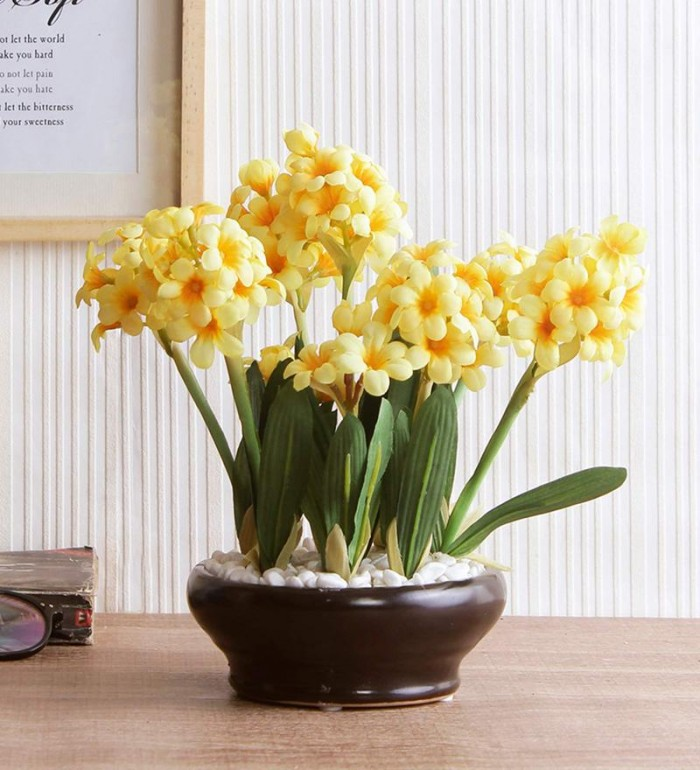 Buy Premium Range Artificial Hyacinth Plant With Stylish Ceramic Vase (26 Cm Tall, Yellow, 31 Leaves