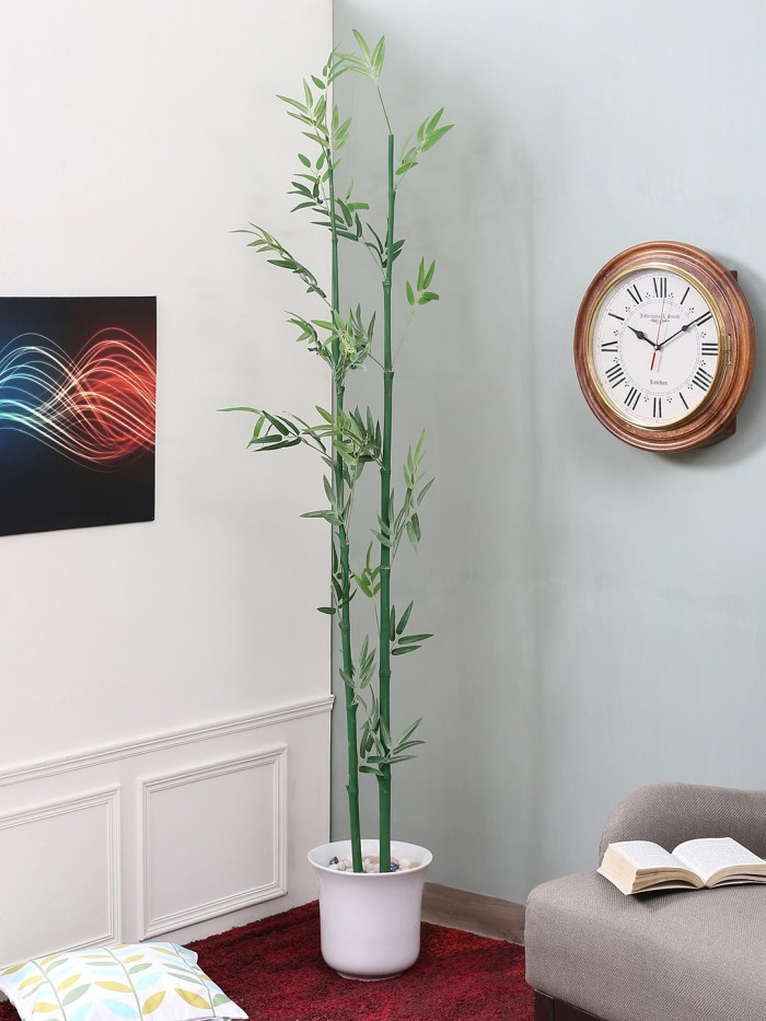 Buy Fourwalls Decorative Artificial Polyester Bamboo Stick Without Pot (8 Cm X 8 Cm X 160 Cm, Green,