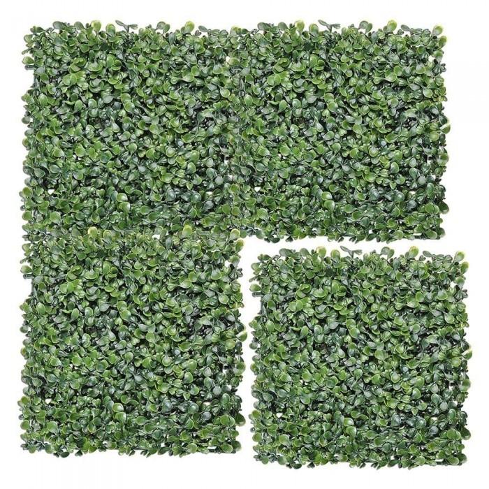 Buy Decorative Square PVC Artificial Gardening Mats Fern Wall Panels Eucalyptus Boxwood Tiles (Set O