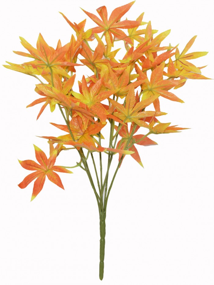 Buy Fourwalls Artificial Polyester And Plastic Maple Bush Stem (48 Cm Tall, Orange) Online