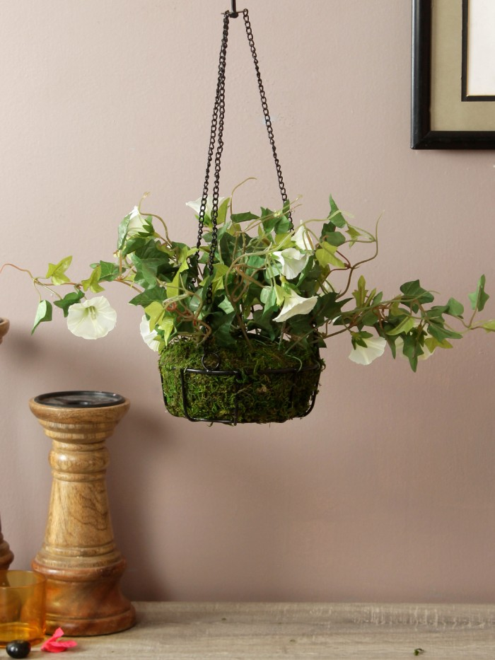 Buy Fourwalls Decorative Artificial Morning Glory Flower Plant With Hanging Ironware Basket (16 Inch