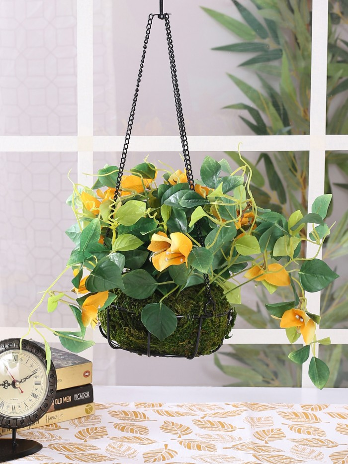 Buy Fourwalls Decorative Artificial Bougainvillea Flower Plant With Hanging Ironware Basket (16 Inch