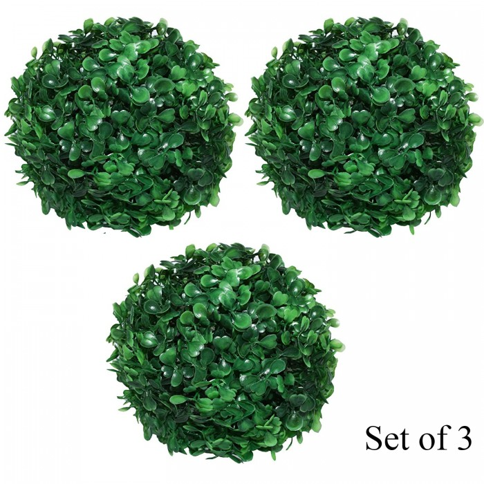 Buy Fourwalls PVC Plastic Artificial Eucalyptus Boxwood Topiary Grass Ball (18 Cm Total Diameter, Gr