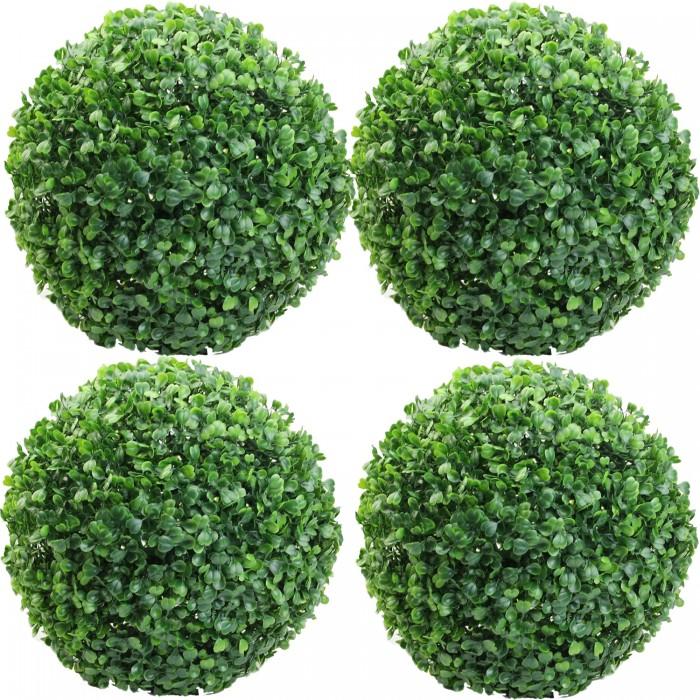 Buy Fourwalls PVC Plastic Artificial Eucalyptus Boxwood Topiary Grass Ball (23 Cm Total Diameter, Gr
