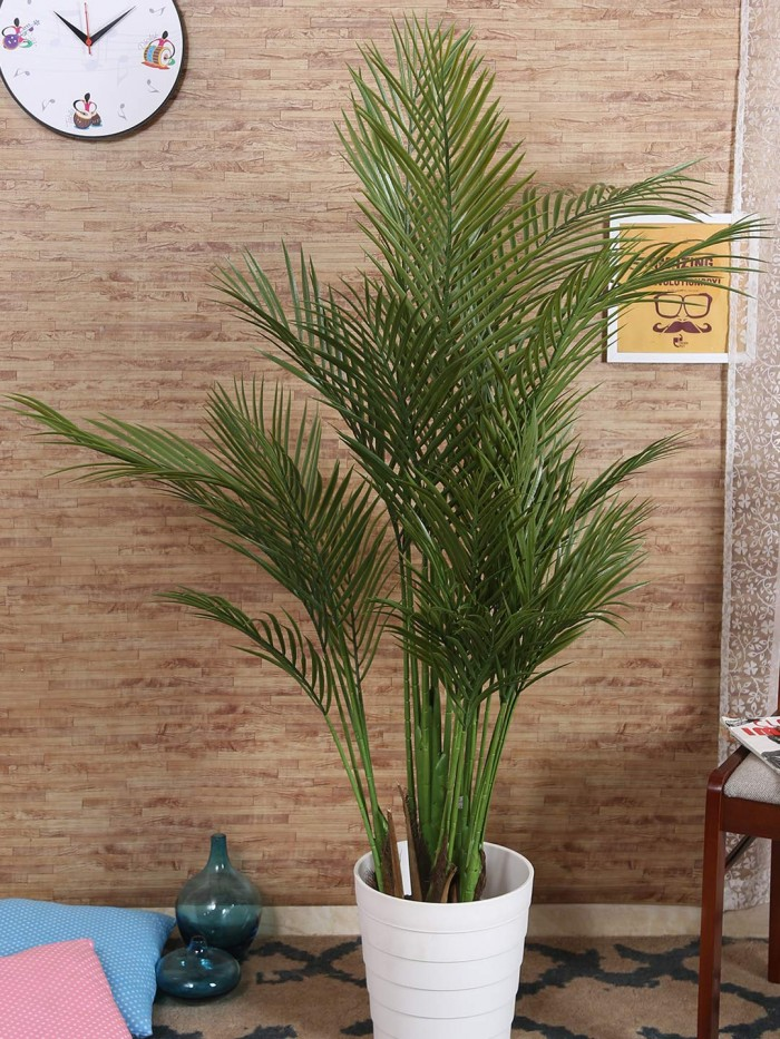 Buy Decorative Artificial Areca Floor Plant Without Pot (140 Cm Tall, 5 Branches, Green) Online