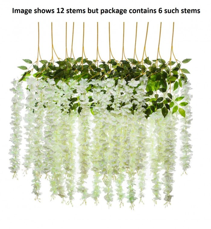 Buy Artificial Wisteria Hanging Flower Vine : White, Set of 6 Online