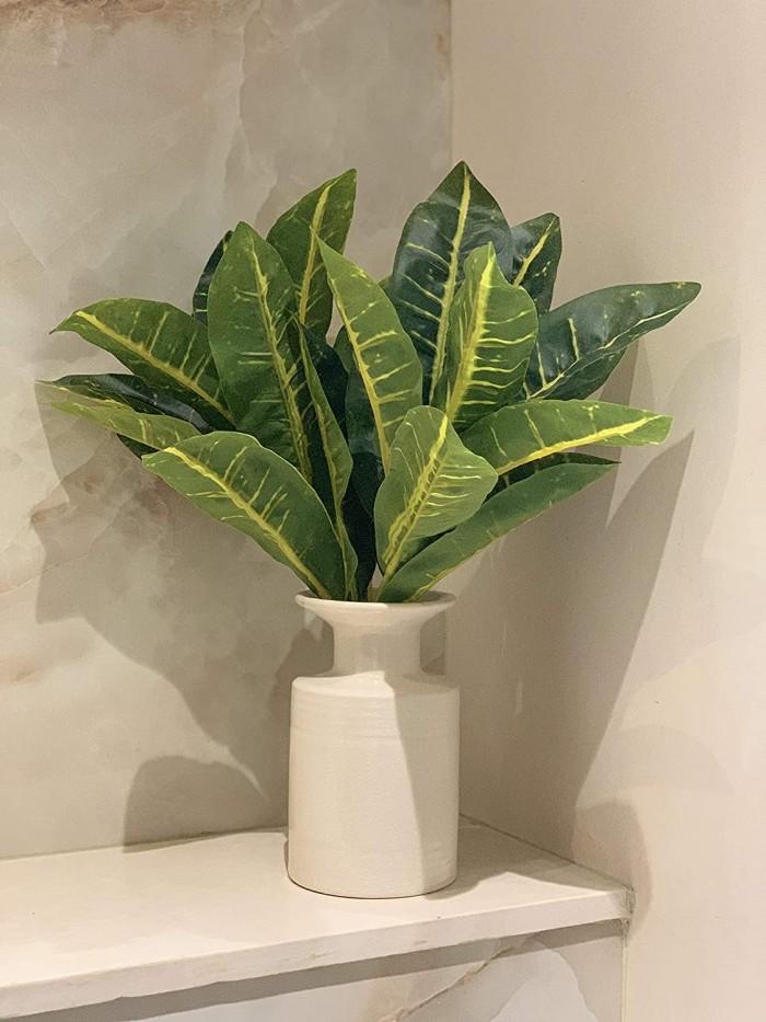 Buy Beautiful Artificial Plastic Green Croton Plant Mini Bush Without Vase (15 Cm X 15 Cm X 36 Cm, S