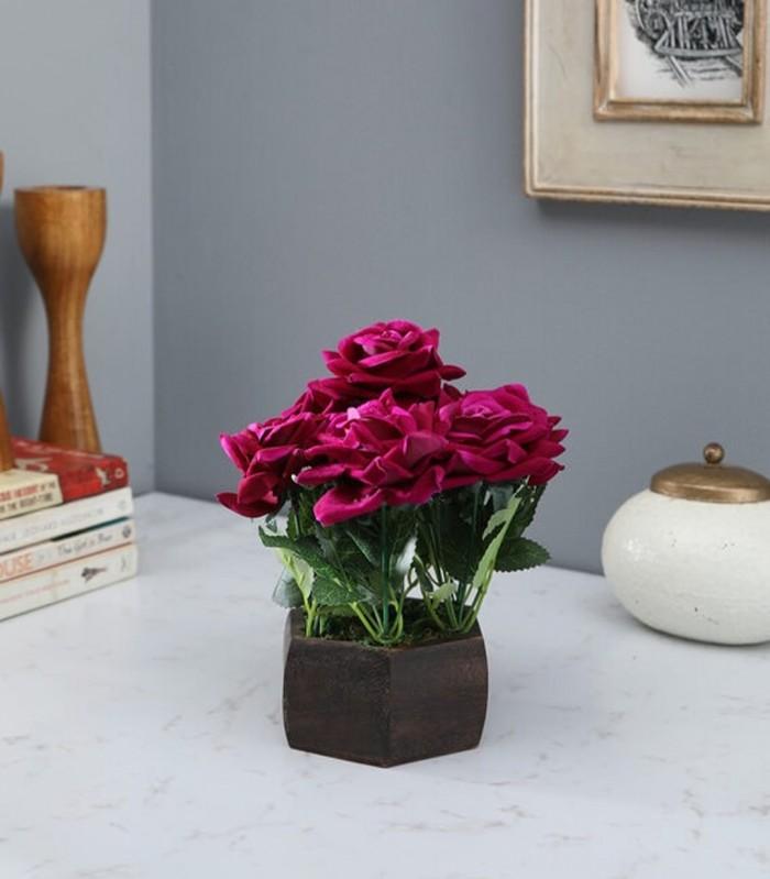 Buy Fourwalls Artificial Beautiful Velvet Rose Flower Plant With Wood Hexagon Pot (18 Cm X 18 Cm X 2
