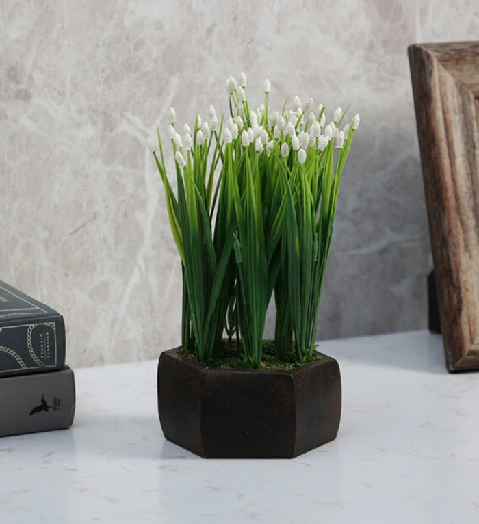 Buy Fourwalls Artificial Beads Yucca Leaves Flowering Plant With Wood Hexagon Pot (15 Cm X 15 Cm X 2