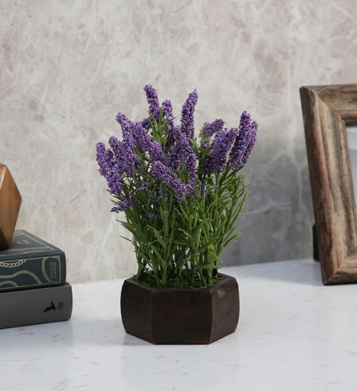 Buy Fourwalls Artificial Hogla Leaves Flowering Plant With Wood Hexagon Pot (15 Cm X 15 Cm X 25 Cm,