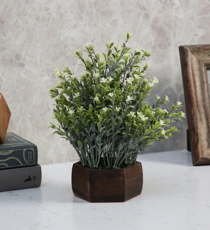 Buy Fourwalls Artificial Bahubali Leaves And Small Flowers Plant With Wood Hexagon Pot (22 Cm X 22 C