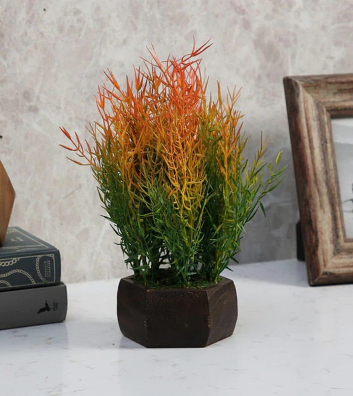 Buy Fourwalls Artificial Bamboo Leaves Plant With Wood Hexagon Pot (18 Cm X 18 Cm X 25 Cm, Multicolo