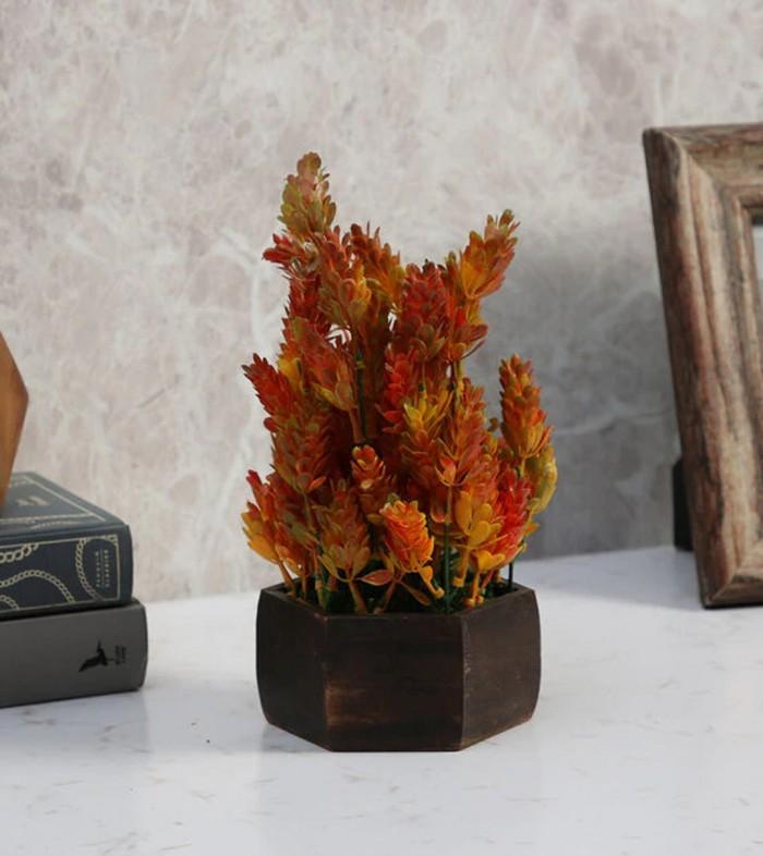 Buy Fourwalls Artificial Eucalyptus Leaves Plant With Wood Hexagon Pot (15 Cm X 15 Cm X 25 Cm, Red)