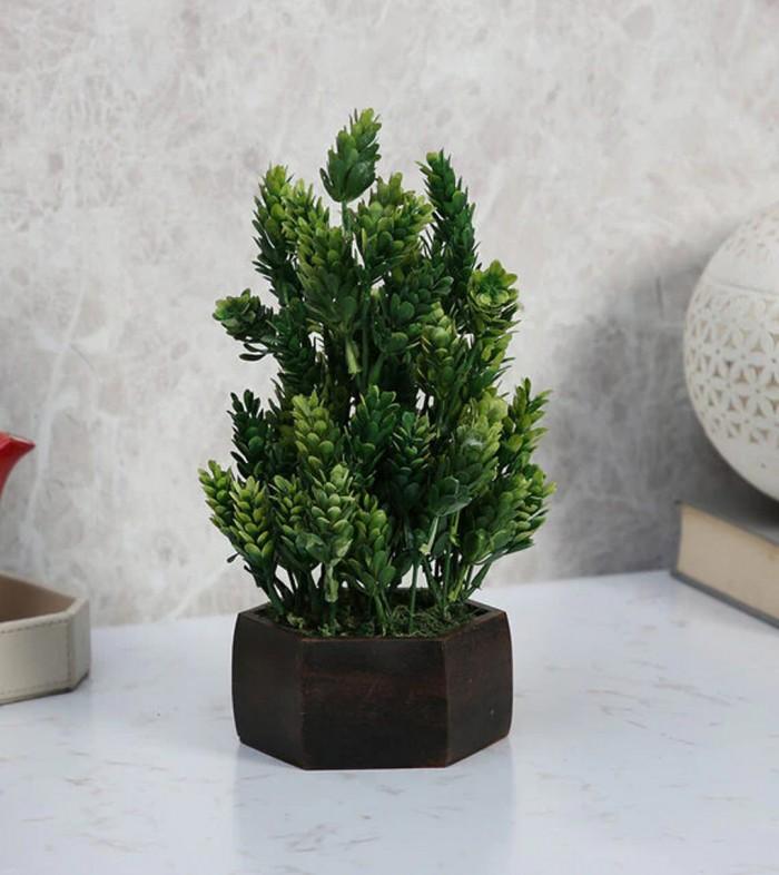Buy Fourwalls Artificial Eucalyptus Leaves Plant With Wood Hexagon Pot (15 Cm X 15 Cm X 25 Cm, Dark/