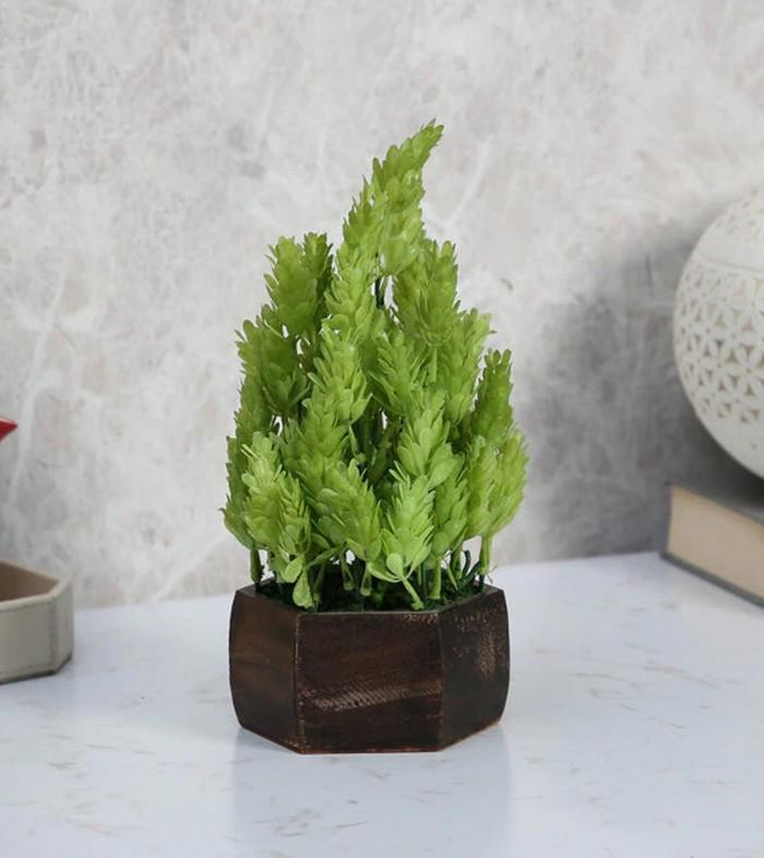 Buy Fourwalls Artificial Eucalyptus Leaves Plant With Wood Hexagon Pot (15 Cm X 15 Cm X 25 Cm, Light