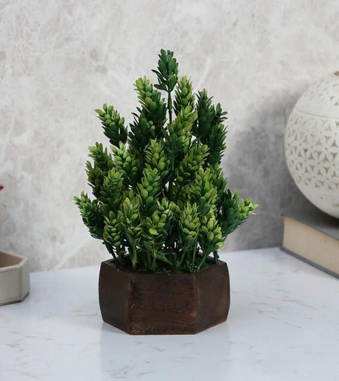 Buy Fourwalls Artificial Eucalyptus Leaves Plant With Wood Hexagon Pot (15 Cm X 15 Cm X 25 Cm, Green