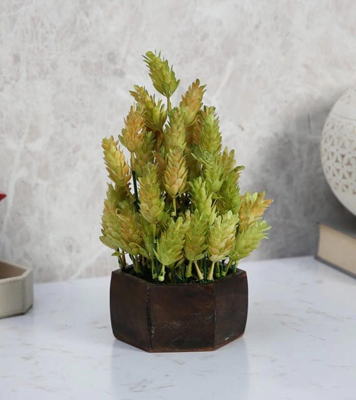 Buy Fourwalls Artificial Eucalyptus Leaves Plant With Wood Hexagon Pot (15 Cm X 15 Cm X 25 Cm, Yello
