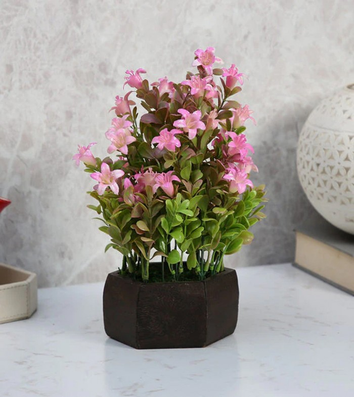 Buy Fourwalls Beautiful Artificial Bell Flower Plant With Wood Hexagon Pot (20 Cm X 20 Cm X 24 Cm, P