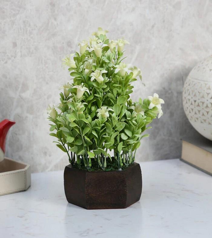 Buy Fourwalls Beautiful Artificial Bell Flower Plant With Wood Hexagon Pot (20 Cm X 20 Cm X 24 Cm, W
