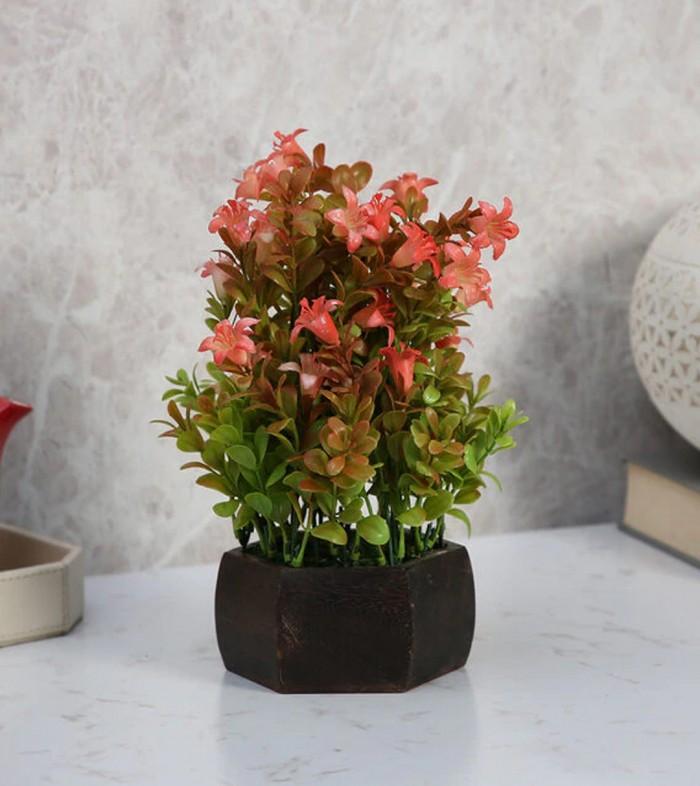 Buy Fourwalls Beautiful Artificial Bell Flower Plant With Wood Hexagon Pot (20 Cm X 20 Cm X 24 Cm, R