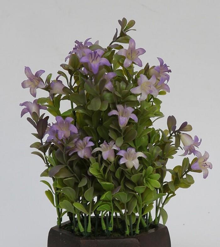 Buy Fourwalls Beautiful Artificial Bell Flower Plant With Wood Hexagon Pot (20 Cm X 20 Cm X 24 Cm, B