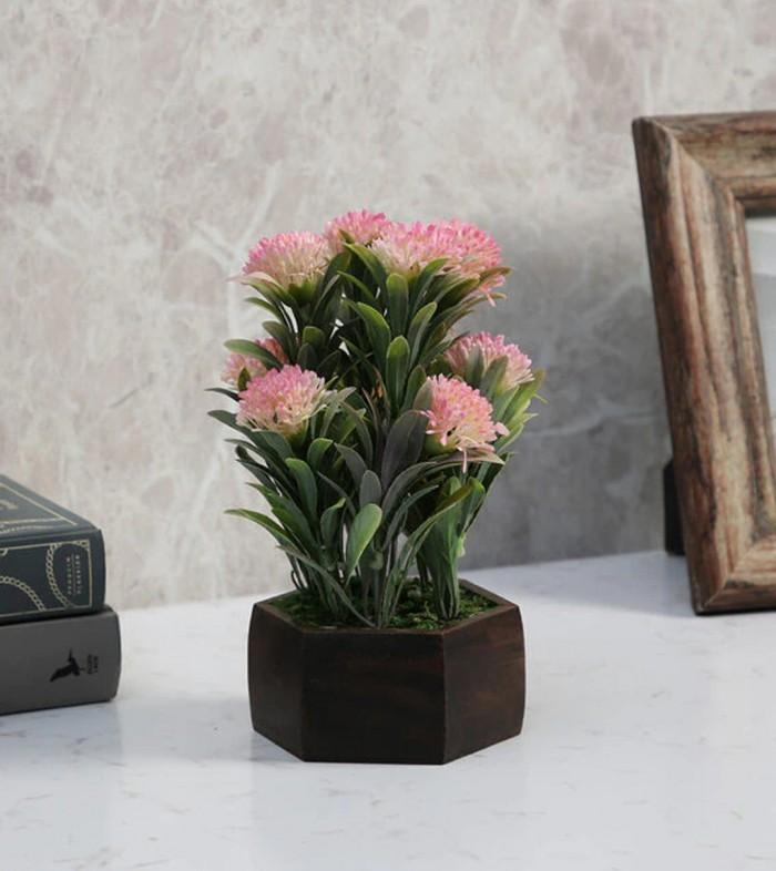 Buy Fourwalls Artificial Merry Gold Flowering Plant With Wood Hexagon Pot (16 Cm X 16 Cm X 20 Cm, Pi