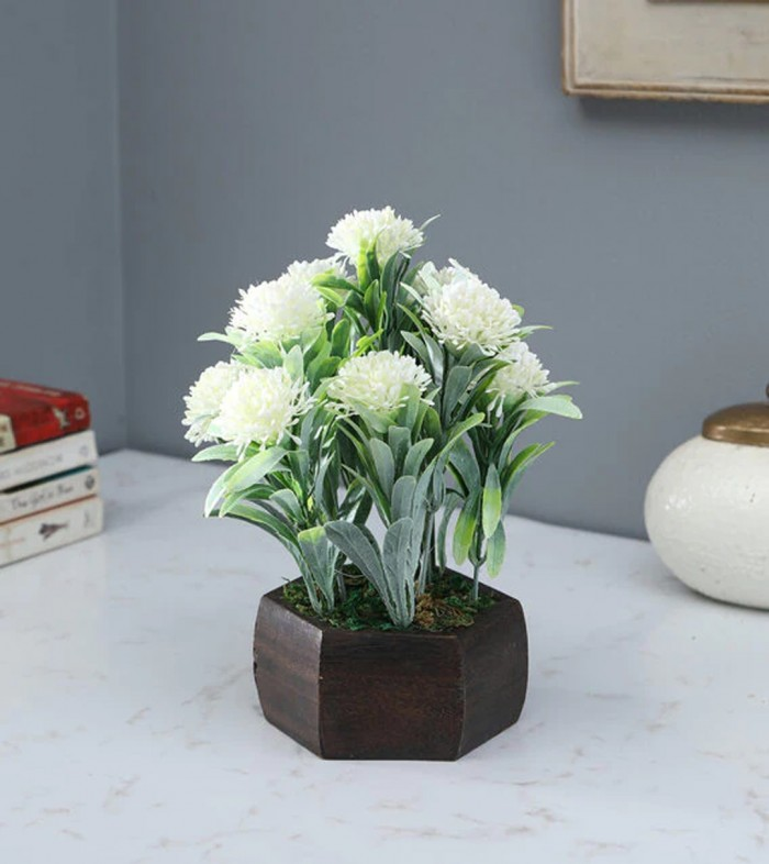 Buy Fourwalls Artificial Merry Gold Flowering Plant With Wood Hexagon Pot (16 Cm X 16 Cm X 20 Cm, Wh