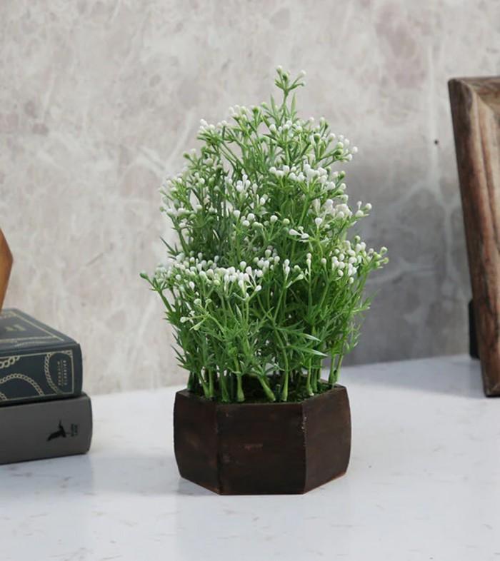 Buy Fourwalls Artificial Berry Leaves Flowering Plant With Wood Hexagon Pot (15 Cm X 15 Cm X 25 Cm,