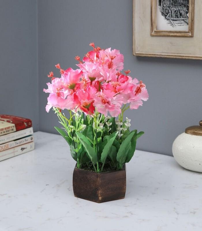 Buy Fourwalls Artificial Hibiscus Flower Plant With Wood Hexagon Pot (25 Cm X 25 Cm X 30 Cm, Light P