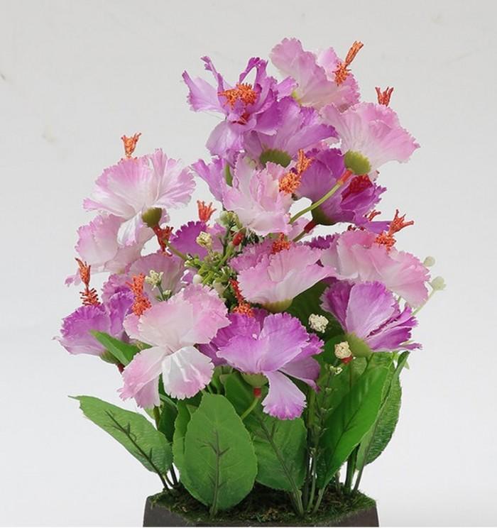 Buy Fourwalls Artificial Hibiscus Flower Plant With Wood Hexagon Pot (25 Cm X 25 Cm X 30 Cm, Purple)