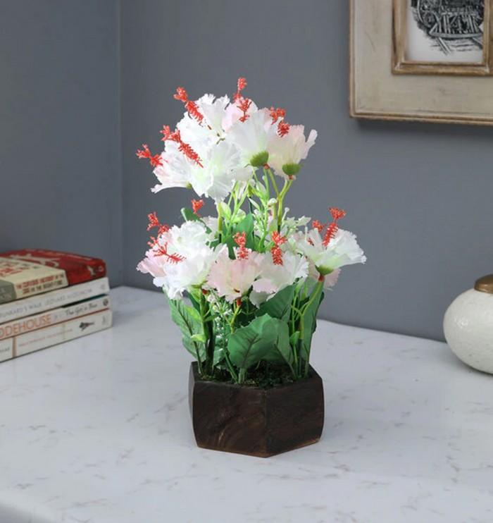 Buy Fourwalls Artificial Hibiscus Flower Plant With Wood Hexagon Pot (25 Cm X 25 Cm X 30 Cm, White)