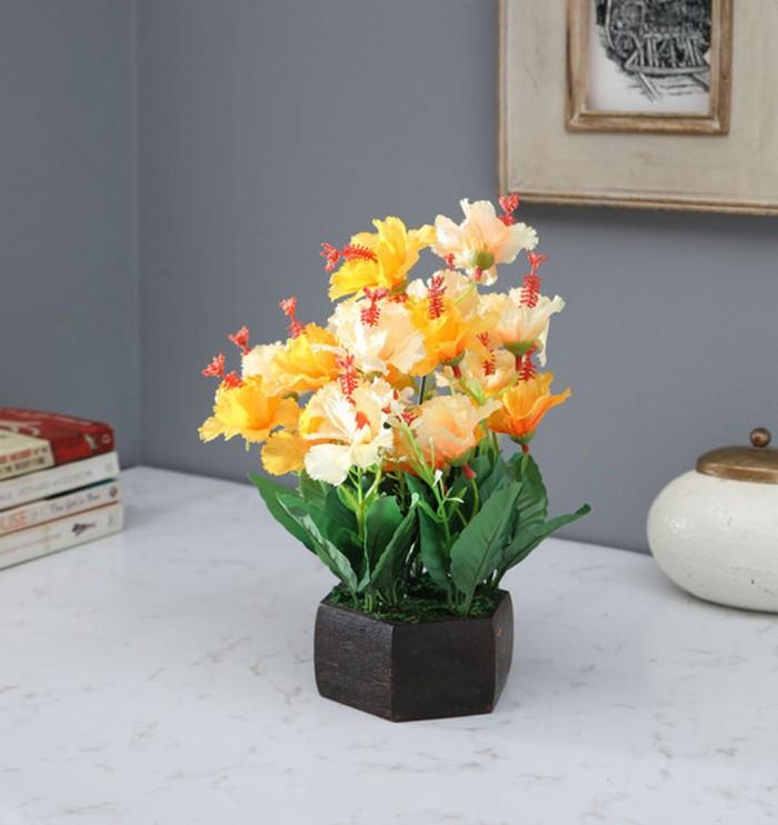 Buy Fourwalls Artificial Hibiscus Flower Plant With Wood Hexagon Pot (25 Cm X 25 Cm X 30 Cm, Yellow)