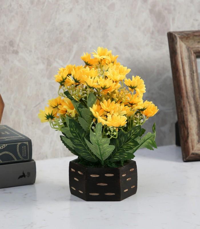 Buy Fourwalls Artificial Daisy Flower Plant With Wood Hexagon Pot (18 Cm X 18 Cm X 22 Cm, Yellow) On
