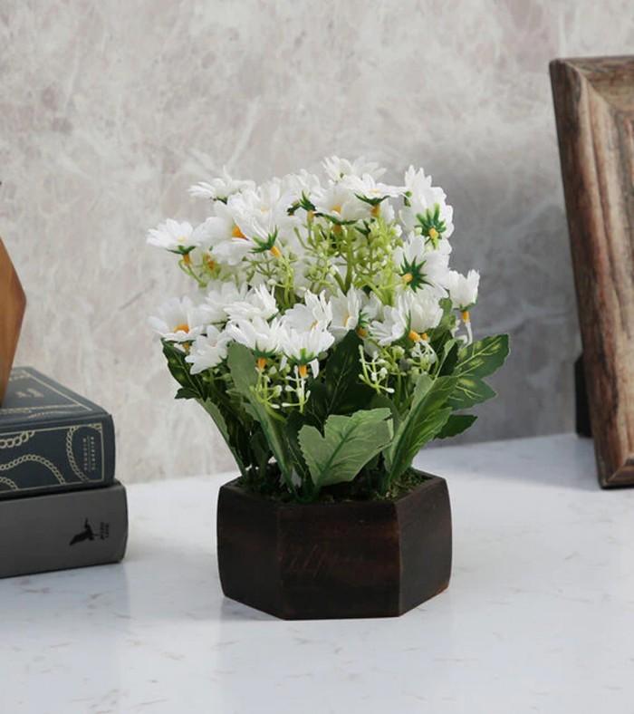 Buy Fourwalls Artificial Daisy Flower Plant With Wood Hexagon Pot (18 Cm X 18 Cm X 22 Cm, White) Onl