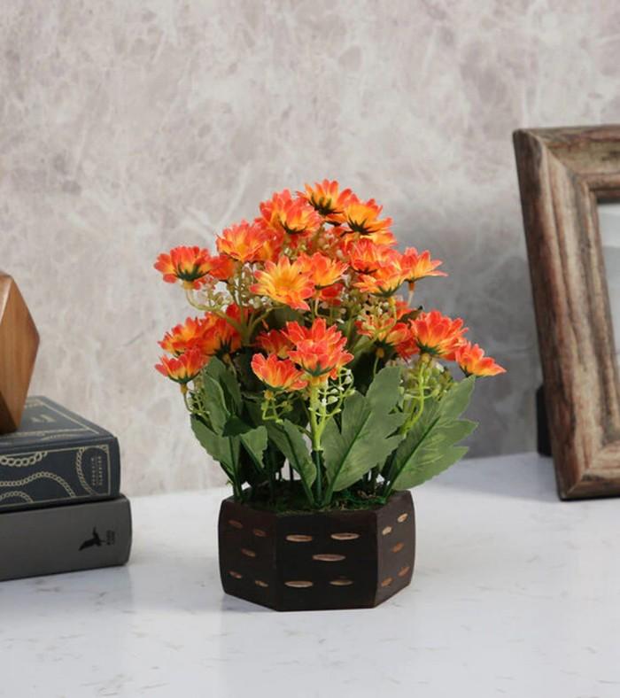 Buy Fourwalls Artificial Daisy Flower Plant With Wood Hexagon Pot (18 Cm X 18 Cm X 22 Cm, Orange) On